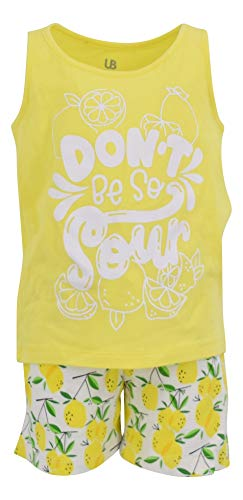 Unique Baby Boys 2 Piece Lemon Print Tank Top and Pull On Shorts Outfit - Lemon 2 Piece