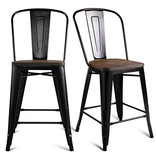 Set of 2 Copper Metal Wood Counter Stool Kitchen Dining Bar Chairs Rustic
