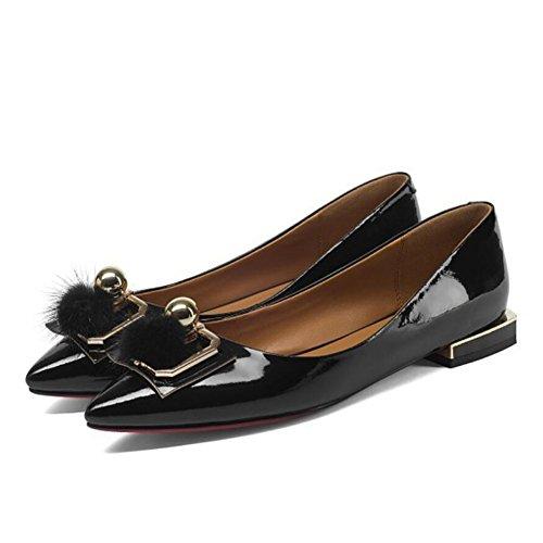 GAOLIXIA Zapatos de cuero Four Seasons para mujer zapatos planos de boca baja Zapatos de moda hebilla metálica de mujer Black