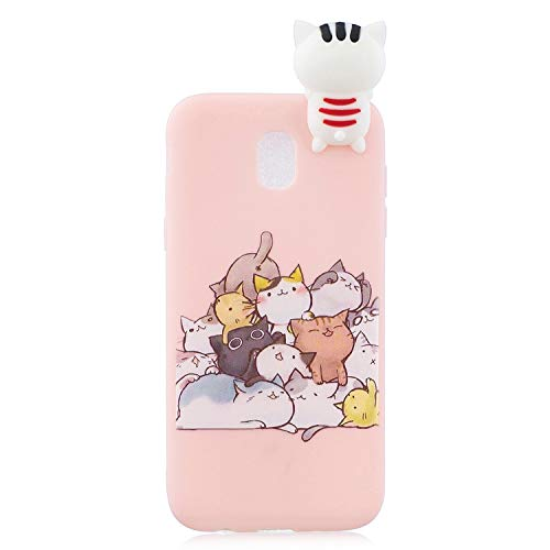 Samsung J7 2018 Silicone Case 3D Cartoon Animal Aeeque Stylish Candy Color Slim Fit Soft TPU Phone Cases Shell Bag Protective Cover for Samsung Galaxy J7 2018/J7 Star/J7 Refine J737, Pink Stacked Cats ()