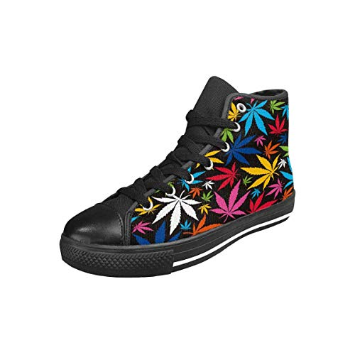 INTERESTPRINT Women's High Top Canvas Casual Sports Sneaker Colorful Cannabis Leaves on Black Background US11