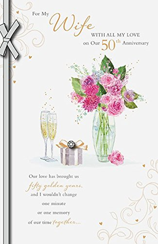 Wife Golden 50th Wedding Anniversary Card UK Greetings
