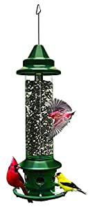 "Brome 1024 Squirrel Buster Plus 6""x6""x28"" Wild Bird Feeder with Cardinal Perch Ring and 6 Feeding Ports, 3qt/5.1lb Seed Capacity"