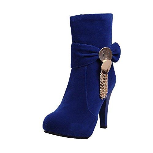 AgooLar Womens Solid High Heels Closed Round Toe Imitated Suede Zipper Boots Blue aV6eYa