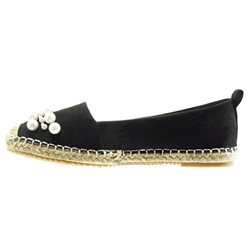 Angkorly - Chaussure Mode Espadrille Mocassin slip-on femme perle bijoux corde Talon bloc 2 CM - Noir