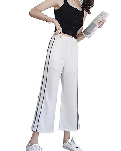 Estivi Elastica Fashion Pantaloni Eleganti Bolawoo Larghi Donna Mode Waist Marca Per Libero Spacco Di High Accogliente Palazzo Sciolto Bianca Tempo Vita Casuali pw4Fq