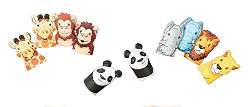 Fun Express Noah's Ark Puffy Finger Puppets | 12 Count | Great for Church Activities, Bible Study, Sunday School, Party Prizes & Giveaways, Toddler Students, Children's Toys, Gift - Puppet Panda Finger