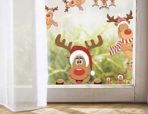 Mozamy Creative Reindeer Decals Christmas Wall Decals Rudolph Decals Christmas Reindeer Window Decals Car Decal Christmas Decorations (Reindeer Decals) ()