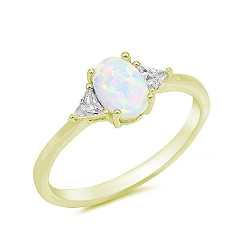 Accent Wedding Ring Oval Cut Lab Created White Opal Triangle CZ Yellow Tone Plated 925 Sterling Silver Yg Opal Ring