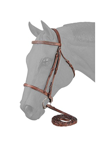 Raised Bridle (EquiRoyal Raised Snaffle English Bridle W/Stone Crystals - Brown)
