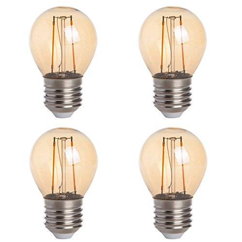 (HERO-LED G16-DSGT-2W-WW22 Dimmable Gold Tint G16 E26/E27 2W Edison Style LED Vintage Antique Filament Bulb, 25W Equivalent, Ultra Warm White 2200K (Amber Glow), 4-Pack)