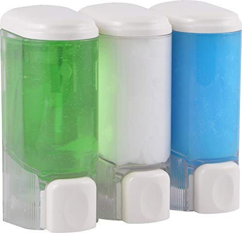 Templeton Three Chamber Compact Soap, Shampoo & Lotion Dispenser, in Shower Wall Mount, Clear ()
