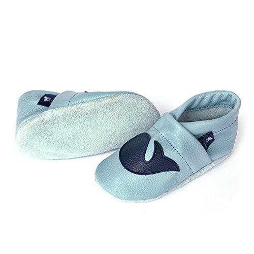 Pantau Leder Krabbelschuhe Lederpuschen Babyschuhe mit Wal, 100% Leder HELLBLAU_BLAU