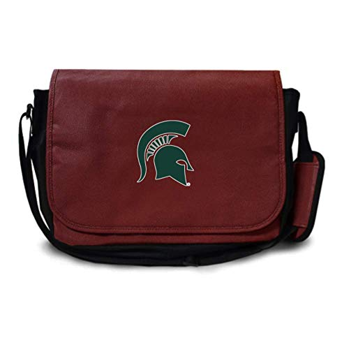 Leather Michigan Brown - Zumer Sport Michigan State Spartans Football Leather Laptop Computer Case Messenger Shoulder Bag - Made from Actual Football Materials - Brown