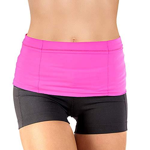 Tomppy Unisex Waist Pack Running Workout Fitness Jogging Walking Belt Travel Money Secure Pockets for Phone Card Passport (S, - Unisex Marathon Top One Pocket