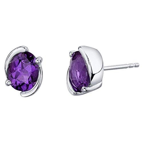 Sterling Silver Bezel Stud Earrings in Various Gemstones