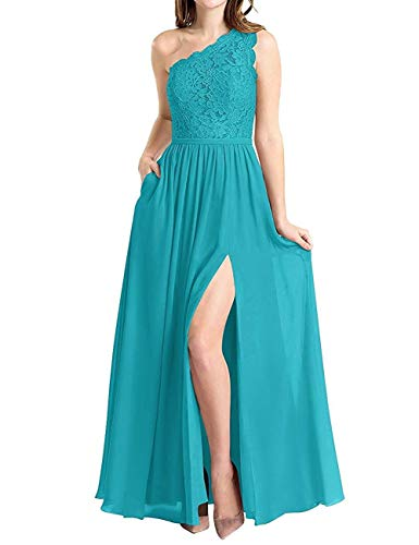 BBCbridal Women's One Shoulder Long Evening Dress Lace Chiffon Bridesmaid Dress Side Split Prom Gowns Turquoise Size 2