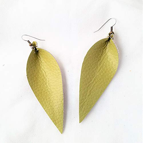 - Leather Leaf Earrings/Green Tea/Genuine Leather/Handmade/Statement Earrings/Chartreuse/Yellow-Green/Long Feather Earrings / 3.25