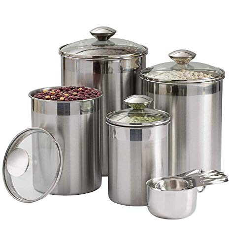 (Beautiful Canisters Sets for the Kitchen Counter, 8-Piece Stainless Steel, Medium Sized with Glass Lids and Measuring Cups - SilverOnyx Tea Coffee Sugar Flour Canisters - 8pc Glass Lids)