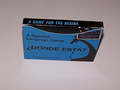 1989 Arteric International. Spanish Language Game ¿Dónde Está? with instructions, 52 location cards & 56 item cards.