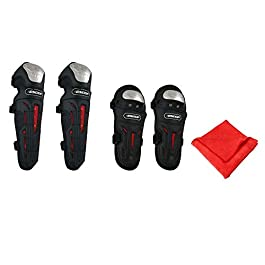 Pivalo PVLGKP4N Knee and Elbow Guards Shin Armor Pads Protector Gear Set with Microfiber Cleaning Towel for Racing…