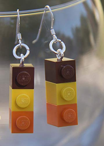 Thanksgiving Fall Turkey Day Brick Earrings Handmade Jewelry STERLING SILVER Hooks Autumn Colors Brown Yellow Orange