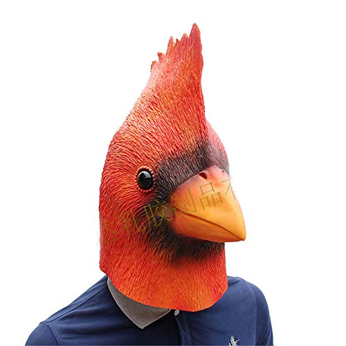 BaronHong Cardinal Bird Cosplay Halloween Party Realistic Latex Headgear 3D Mask(red,M)]()