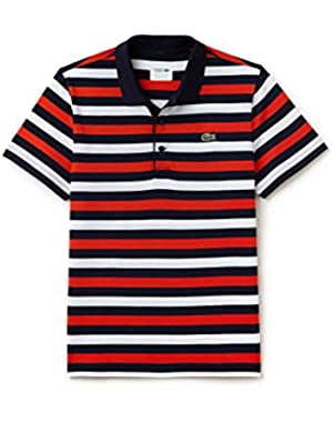 Men's Sport Men's Red Striped Polo in Size 8-XXXL Red