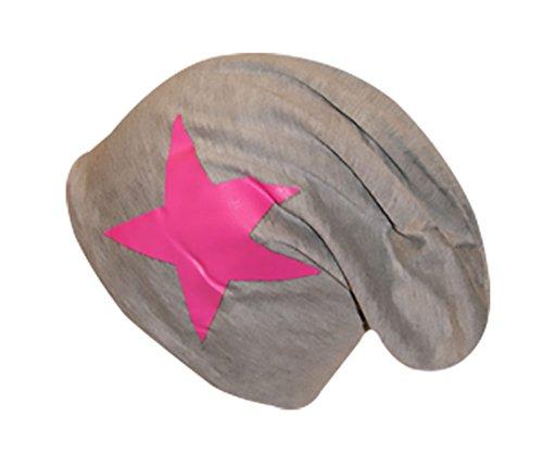 de easy4fashion mit Grau pink Stern Gorro punto para hombre 57raS7q1