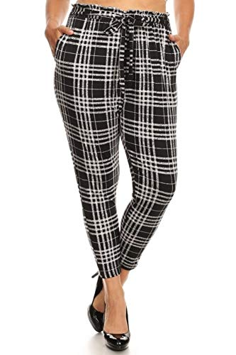 (ShoSho Womens Casual Plus Size Loose Fit Semi Harem Pants Paper Bag Wait Bottoms with Self Tie & Pockets Plaid Print Grey/Black 2X)