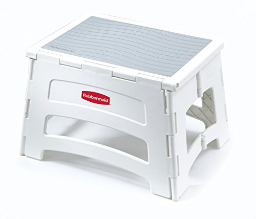 (Rubbermaid RM-PL1W Folding 1-Step Plastic Stool, 300-pound Capacity, White)