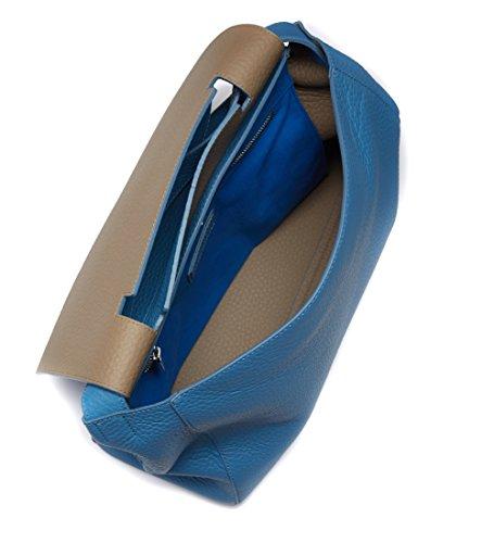 Borsa a spalla Orciani in pelle martellata color azzurro cielo