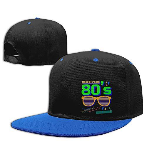 I Love The 80s Eighties Art Contrast Hip Hop Baseball Cap Sport Adult Young Cap Casual Adjustable Hat Blue