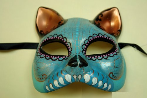 Skyblue Cat Figure Half Face Hand-painted Paper Mache Mask