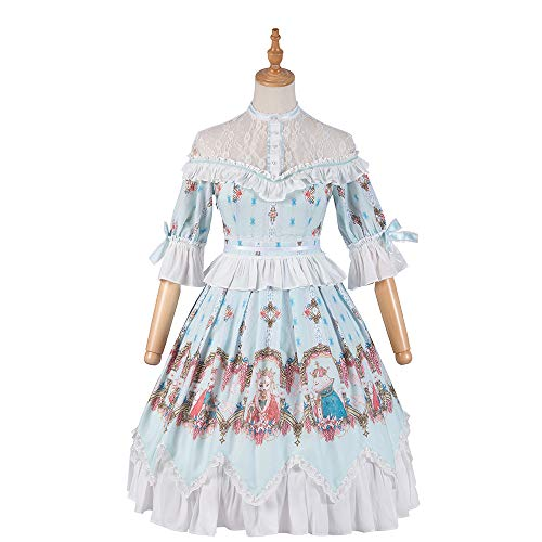 Yingluofu Lolita Sweet Classic Lolita Dress Cosplay Party Daily Office 「Fox Kingdom」Custom One-Piece Suit for Women (M) Blue