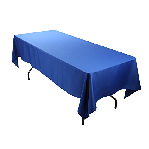 E-TEX Rectangle Tablecloth - 60 x 102 Inch Rectangular Table Cloth for 6 Foot Table in Washable Polyester Royal Blue