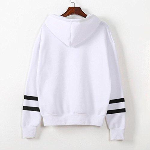 para Internert Blusa capucha mujer larga con cuello redondo Sudadera Blanco estampada capucha Manga Jumper con con twHr08tqW