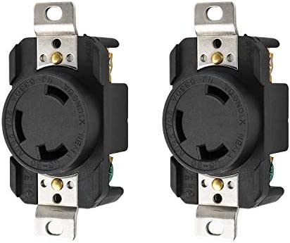QWORK 2 Pack Flush Mounting Locking Receptacle Socket/Outlet, Industrial Grade, Grounding, 30 Amp, 250 Volt