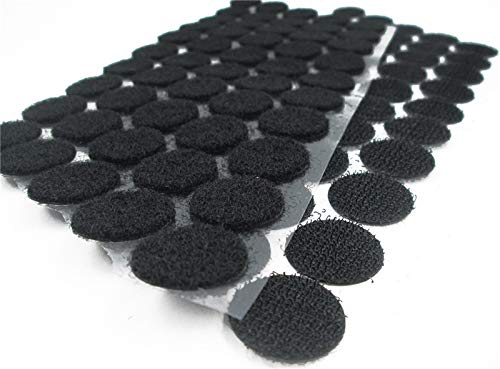 - 128Pairs Round Black Self Adhesive Hook & Loop Sticky Back Tape Strips Fabric Fastener Light Weight Black Stronghold 1inch Diameter