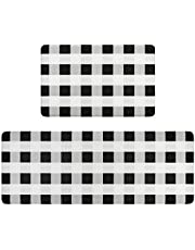 CHIBO 2 Piece Kitchen Rug Mat Set Anti Fatigue Cushioned Non Slip Kitchen Floor Mats Heavy Duty PVC Standing Mat Waterproof Kitchen Runner Rug Sets