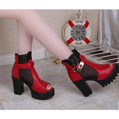 Sandalias mujer primavera PU Confort Casual Blanco Negro Rojo Ruby