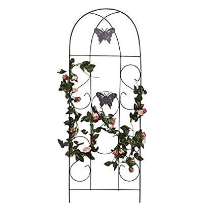 "Amagabeli 60"" x 18"" Rustproof Black Iron Butterfly Garden Trellis for Climbing Plants Potted Vines Vegetables Vining Flowers Patio Metal Wire Lattices Grid Panels for Ivy Roses Cucumbers Clematis Pots"
