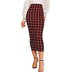 Verdusa Women's Elegant Plaid Elastic Waist Bodycon Midi Skirt