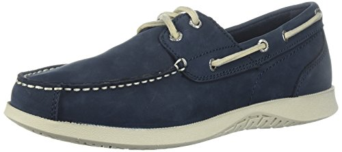 Nunn Bush Men's Bayside Two-Eye Boat Shoe, Navy, 10.5 Medium (Authentic Mens Leather Loafers Shoes)