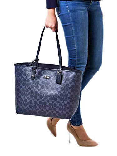 SALE ! New Authentic COACH Monogram Denim Blue Navy Large Shopper LRG Tote -