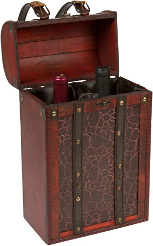 14' Tall Treasure Chest Wine Box - Wooden - Holds 2 Wine Bottles - By Trademark Innovations