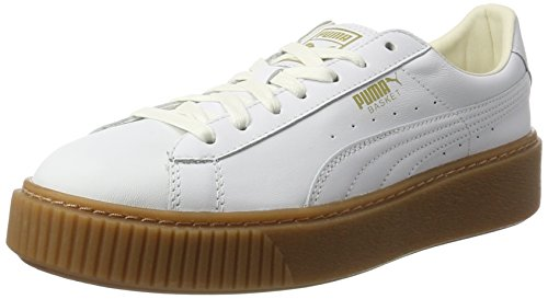 Puma Women's Basket Platform Core Low-Top Sneakers, White (Puma White-Puma White), 4 UK
