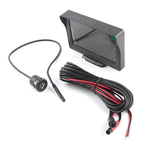 Pudincoco Sistema de monitor de cámara de copia de seguridad con visión trasera de 4.3 pulgadas y pantalla LCD + Juego de...