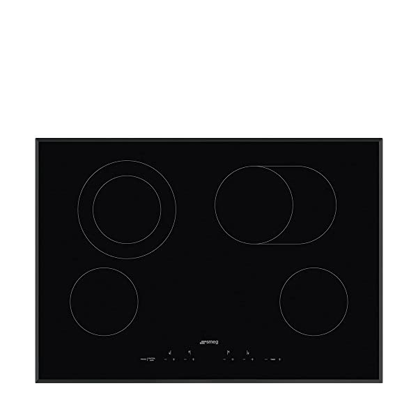 Smeg 30'' Ceramic Cooktop with Angle Edge Glass, Black Glass Suprema With Soft Touch Controls, 4 High Light Radient… 1