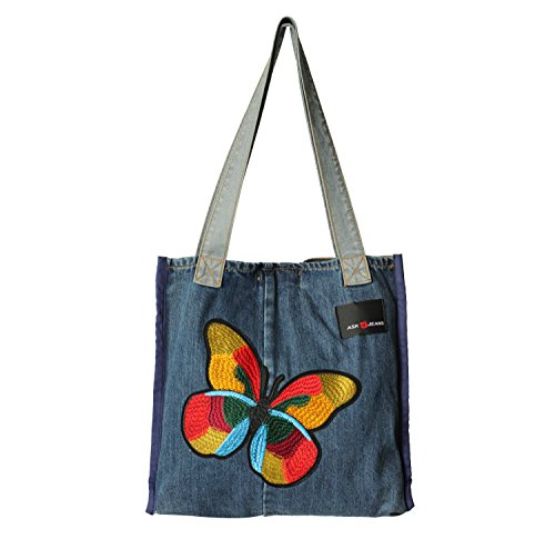 ASK 4 JEANS Denim Jeans Purse Shoulder Hand bags For Women - Original 5 Pocket Design Butterfly Sew On Patch